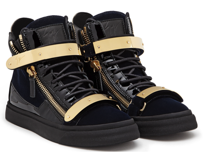 13603abd97cf7 Finished with soft velvet and patent panels, these sneakers would totally  complete the fashion of a party scene-stealer! (Image from Giuseppe  Zanotti's ...