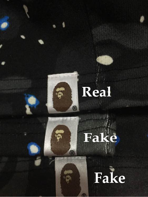 ... the bape s head (as circled in the right picture). Many (though not  all) fakes do not have this little detail 7055f541e17