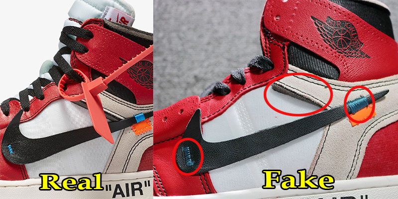 0572bc487dbf83 ... of original NIKE X OFF WHITE Air Jordan 1 from a pair of replica. No  surprise here – the secret is to look at different details on the shoes  themselves.