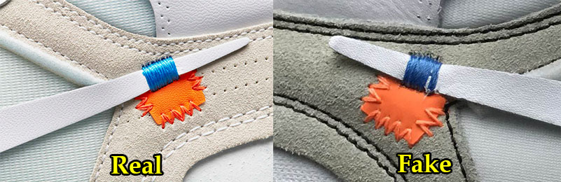 42725de42ce746 The small orange leather cut on the tail end of the shoe s Nike Swoosh  should be in a vivid and bright shade of orange. In comparison ...