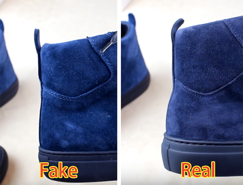 718573cbfbc The back of the original sneakers should have a slightly curved silhouette  (right). On a fake (left)