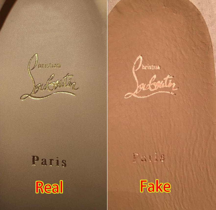 The Christian Louboutin logo embossed on the sneakers  insoles should be  sharp and distinct (left). As seen on a replica (right) d1fb40d944fd