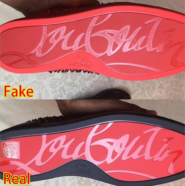 d9768108af7 Point 6  Louboutin wording on shoe bottom. Against a matte red bottom
