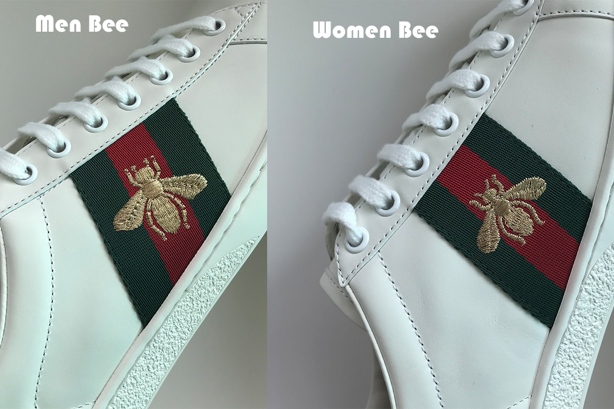 1014dde55 ... men's gucci ace bee sneakers,the bee is male, the front leg and back  leg is more straight than the female. and the shape of wing is also  different. ...