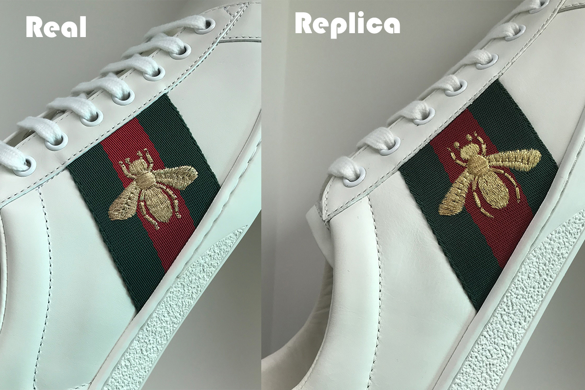 789272deaaf85 ... fat. the perfect quality replica gucci ace sneakers did the same shape  of the bee to the original.but the cheap gucci sneakers have a different  shapes.