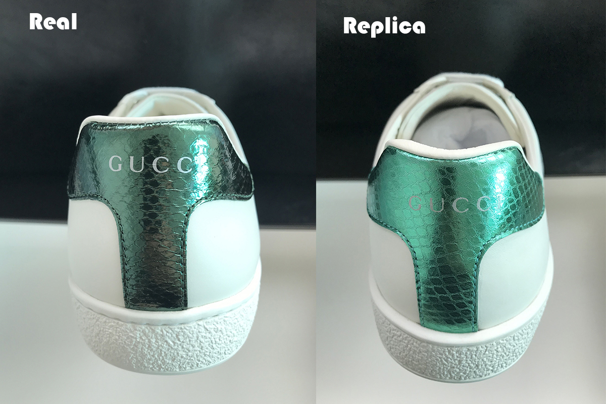 9ef4b60a1c519 The wrinkles of the leather is manual work for the replica sneakers.and the  color of the real one is more dark green while the replica gucci sneakers  have a ...