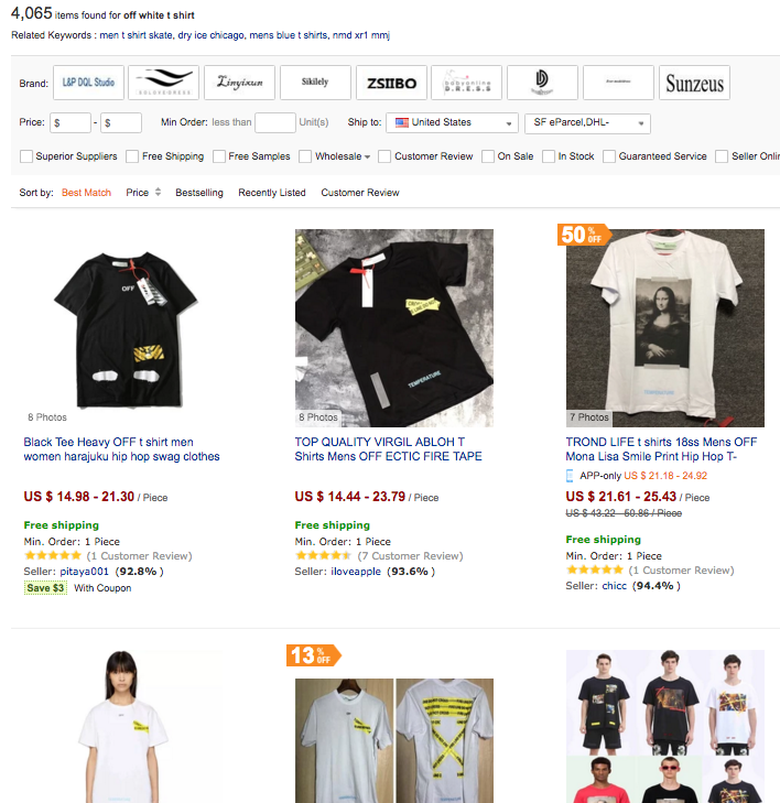 20db6a77920 Our first hint to all of you who are looking to buy cheap Off White shirt  online is: don't bother to go to AliExpress to look for one.