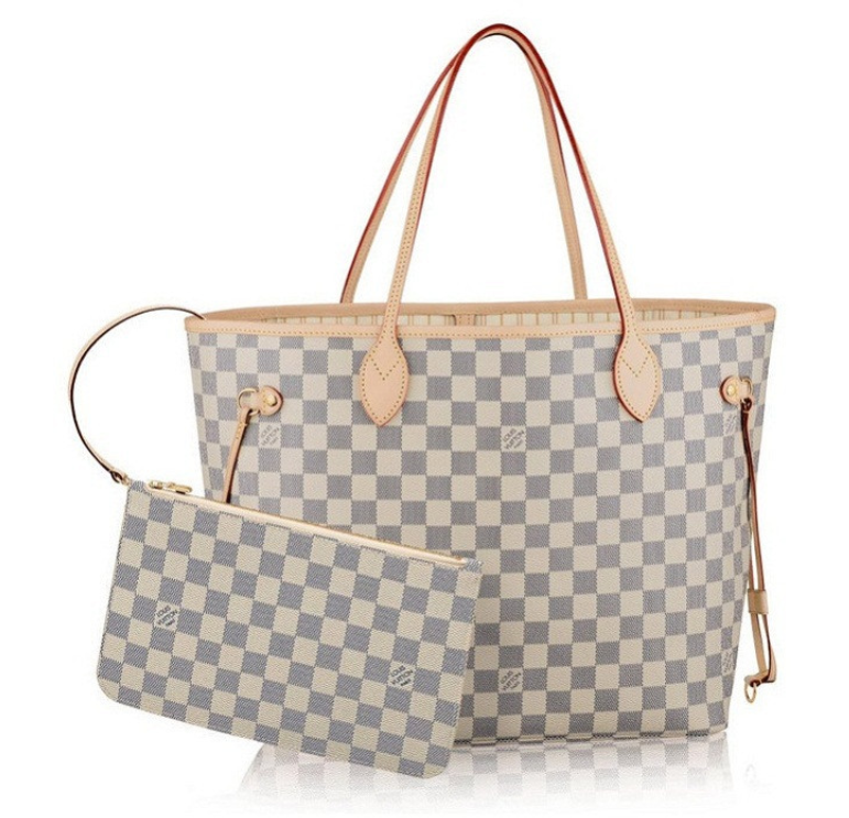 40e29ec1adbce △top quality Louis Vuitton Neverfull white checkerboard shoulder bag. How  do you identify two bags that look like a big one? △The real and the fake
